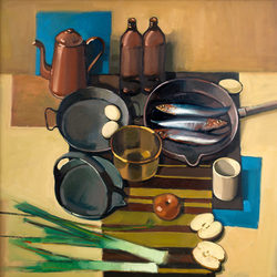 Still Life with Sardines - oil on canvas