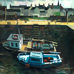 Moored Boats, Port Soy  - oil on canvas