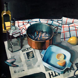 Still life with mussels and lemon - oil on canvas