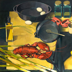 Still life with lobster - oil on canvas