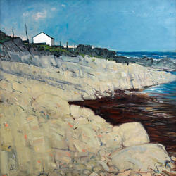 White Hut on the Shore - oil on canvas