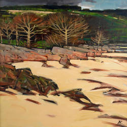 Trees on the Shore, Kippford - oil on canvas