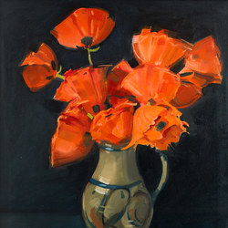 Poppies in Grey vase - oil on canvas