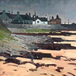 East Coast Village - Sandend - oil on canvas