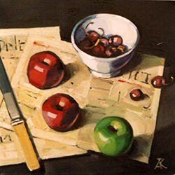 """Apples on Newspaper"" oil on canvas"