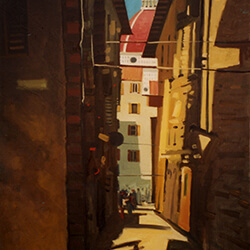 """Glimpse of the Duomo� oil on canvas"